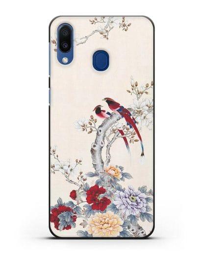 Чехол Цветы и птицы силикон черный для Samsung Galaxy M20 [SM-M205F]