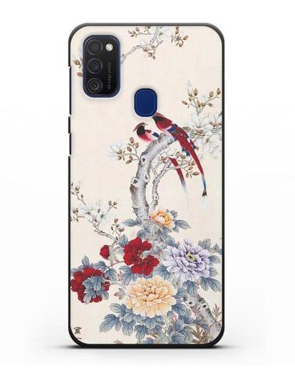 Чехол Цветы и птицы силикон черный для Samsung Galaxy M21 [SM-M215F]