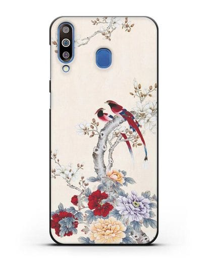 Чехол Цветы и птицы силикон черный для Samsung Galaxy M30 [SM-M305F]