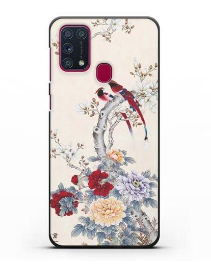 Чехол Цветы и птицы силикон черный для Samsung Galaxy M31 [SM-M315F]