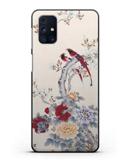 Чехол Цветы и птицы силикон черный для Samsung Galaxy M31s [SM-M317F]
