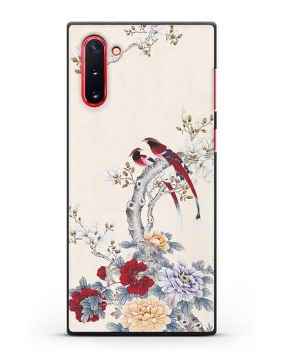 Чехол Цветы и птицы силикон черный для Samsung Galaxy Note 10 [N970F]