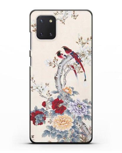 Чехол Цветы и птицы силикон черный для Samsung Galaxy Note 10 Lite [N770F]