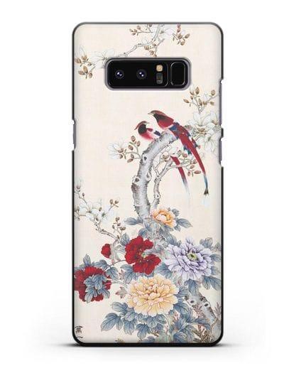 Чехол Цветы и птицы силикон черный для Samsung Galaxy Note 8 [N950F]