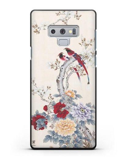 Чехол Цветы и птицы силикон черный для Samsung Galaxy Note 9 [N960F]