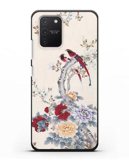 Чехол Цветы и птицы силикон черный для Samsung Galaxy S10 lite [SM-G770F]