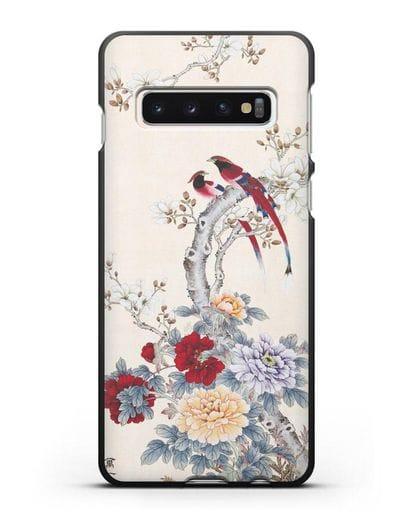 Чехол Цветы и птицы силикон черный для Samsung Galaxy S10 [SM-G973F]