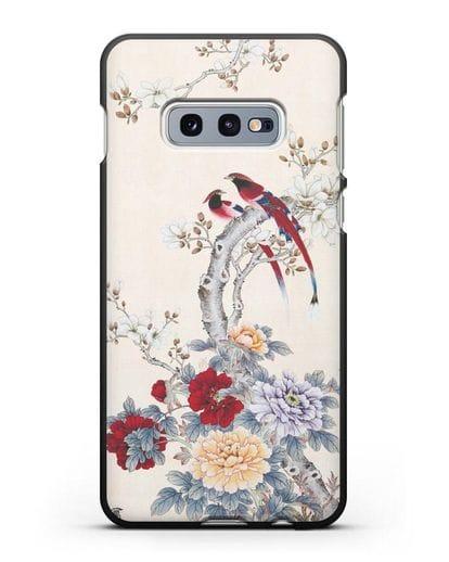 Чехол Цветы и птицы силикон черный для Samsung Galaxy S10e [SM-G970F]