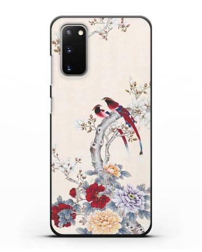 Чехол Цветы и птицы силикон черный для Samsung Galaxy S20 [SM-G980F]