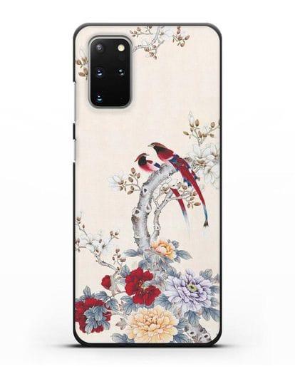 Чехол Цветы и птицы силикон черный для Samsung Galaxy S20 Plus [SM-G985F]