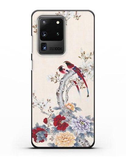 Чехол Цветы и птицы силикон черный для Samsung Galaxy S20 Ultra [SM-G988B]
