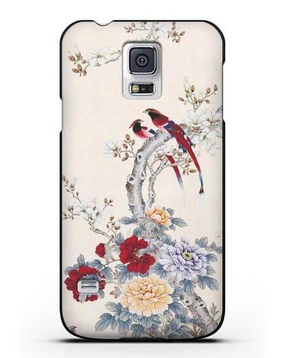 Чехол Цветы и птицы силикон черный для Samsung Galaxy S5 [SM-G900F]