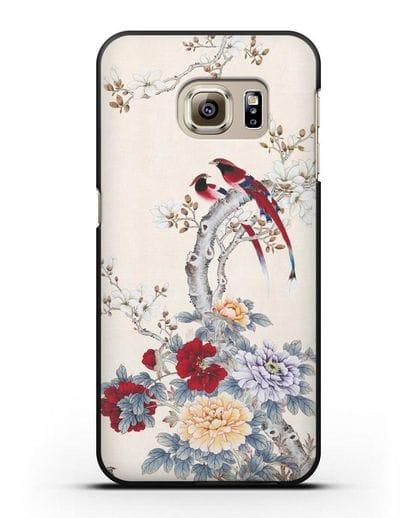 Чехол Цветы и птицы силикон черный для Samsung Galaxy S6 [SM-G920F]