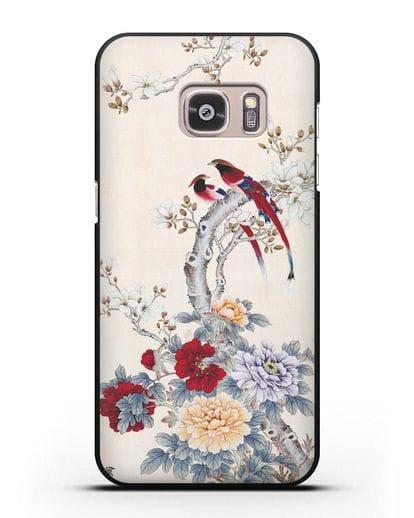 Чехол Цветы и птицы силикон черный для Samsung Galaxy S7 [SM-G930F]
