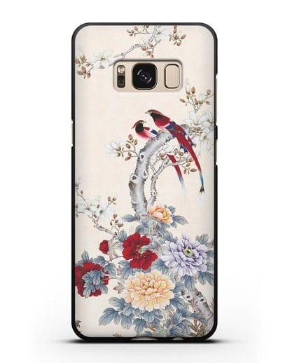 Чехол Цветы и птицы силикон черный для Samsung Galaxy S8 [SM-950F]