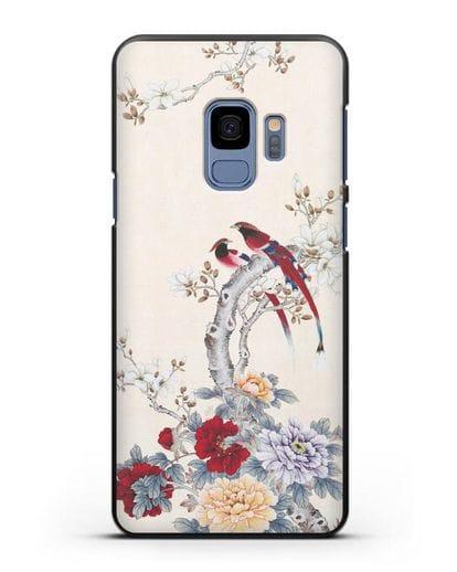 Чехол Цветы и птицы силикон черный для Samsung Galaxy S9 [SM-G960F]