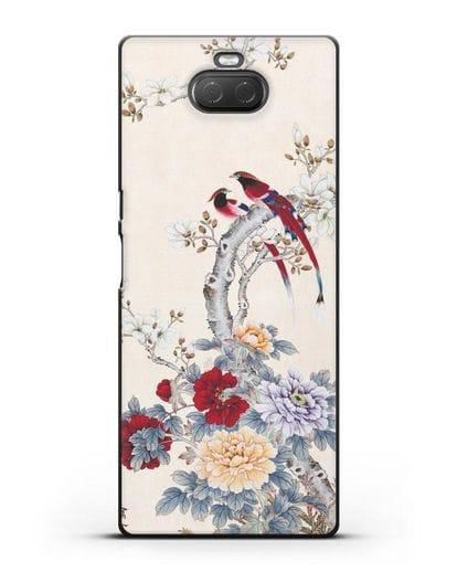 Чехол Цветы и птицы силикон черный для Sony Xperia 10 Plus