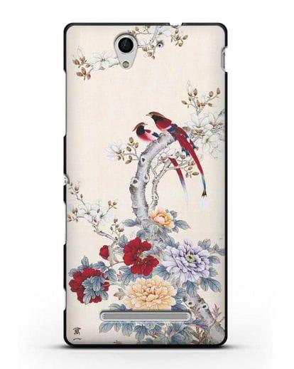 Чехол Цветы и птицы силикон черный для Sony Xperia C3