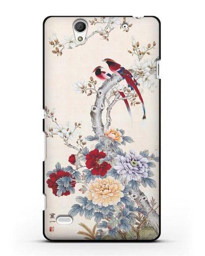 Чехол Цветы и птицы силикон черный для Sony Xperia C4