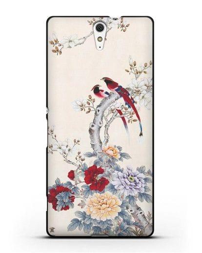 Чехол Цветы и птицы силикон черный для Sony Xperia C5