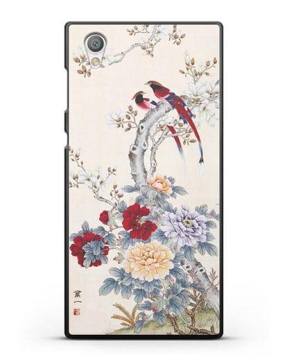 Чехол Цветы и птицы силикон черный для Sony Xperia L1