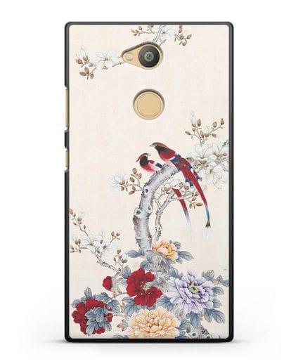 Чехол Цветы и птицы силикон черный для Sony Xperia L2