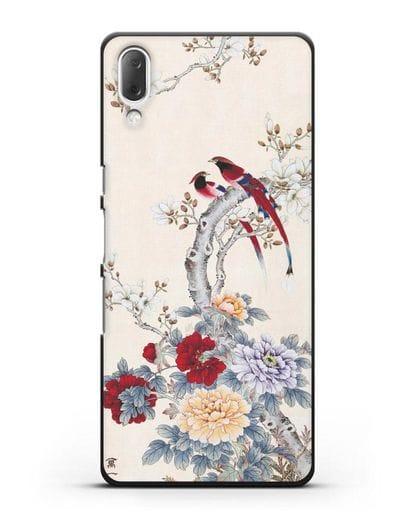 Чехол Цветы и птицы силикон черный для Sony Xperia L3