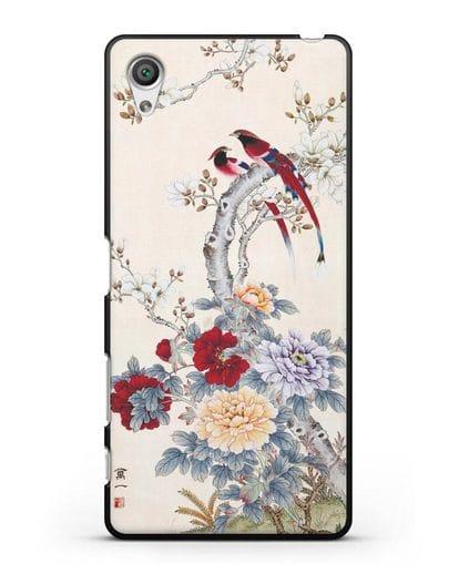 Чехол Цветы и птицы силикон черный для Sony Xperia X