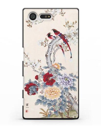 Чехол Цветы и птицы силикон черный для Sony Xperia X Compact