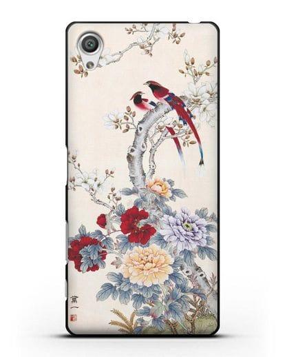 Чехол Цветы и птицы силикон черный для Sony Xperia X Performance