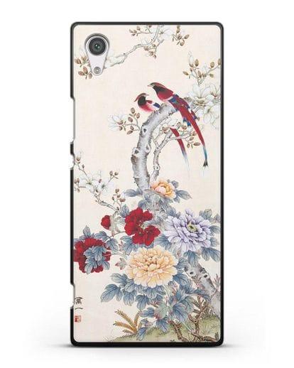 Чехол Цветы и птицы силикон черный для Sony Xperia XA1