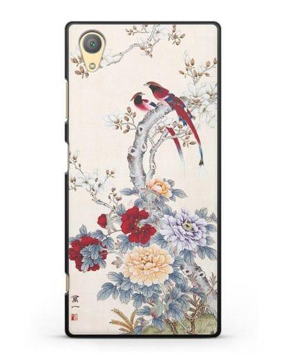 Чехол Цветы и птицы силикон черный для Sony Xperia XA1 Plus