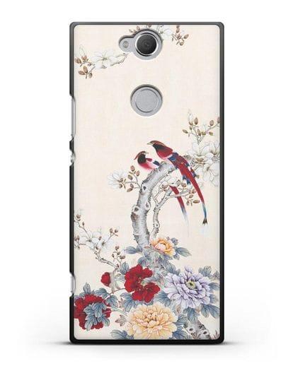 Чехол Цветы и птицы силикон черный для Sony Xperia XA2 Plus