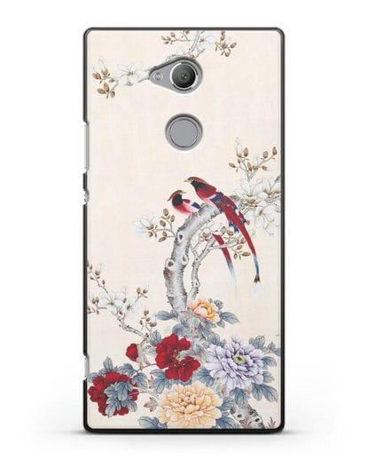 Чехол Цветы и птицы силикон черный для Sony Xperia XA2 Ultra