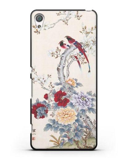 Чехол Цветы и птицы силикон черный для Sony Xperia XA