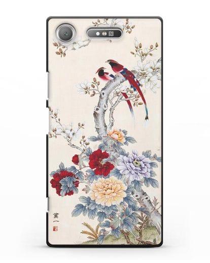 Чехол Цветы и птицы силикон черный для Sony Xperia XZ1