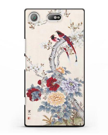 Чехол Цветы и птицы силикон черный для Sony Xperia XZ1 Compact