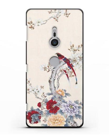 Чехол Цветы и птицы силикон черный для Sony Xperia XZ2