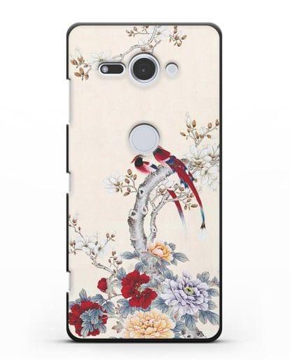 Чехол Цветы и птицы силикон черный для Sony Xperia XZ2 Compact
