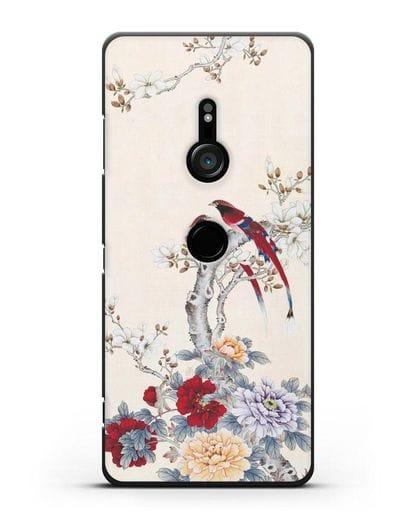 Чехол Цветы и птицы силикон черный для Sony Xperia XZ3