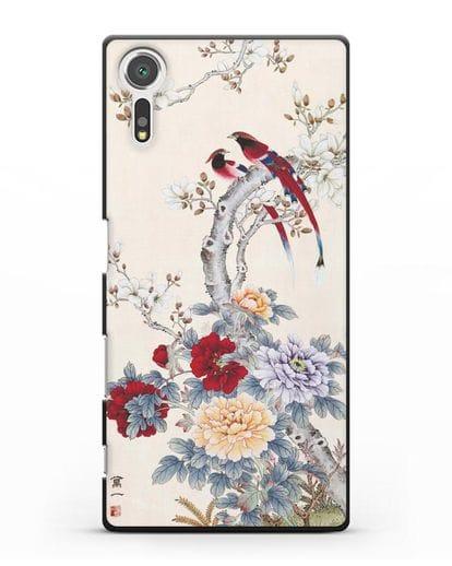 Чехол Цветы и птицы силикон черный для Sony Xperia XZ