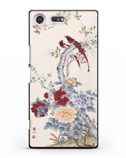 Чехол Цветы и птицы силикон черный для Sony Xperia XZ Premium