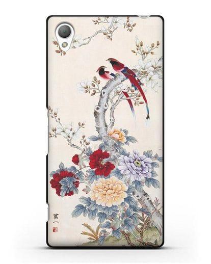 Чехол Цветы и птицы силикон черный для Sony Xperia Z2