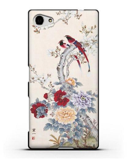 Чехол Цветы и птицы силикон черный для Sony Xperia Z5 Compact