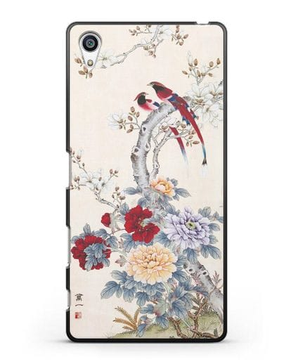 Чехол Цветы и птицы силикон черный для Sony Xperia Z5 Premium