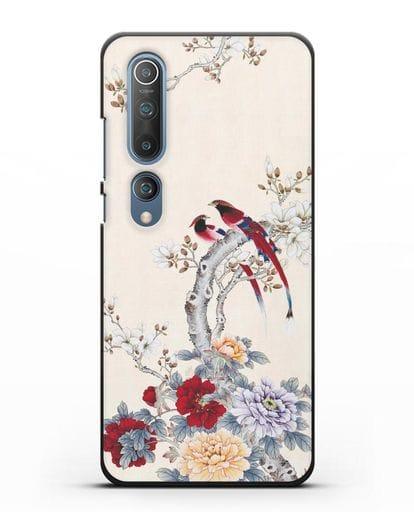 Чехол Цветы и птицы силикон черный для Xiaomi Mi 10 Pro