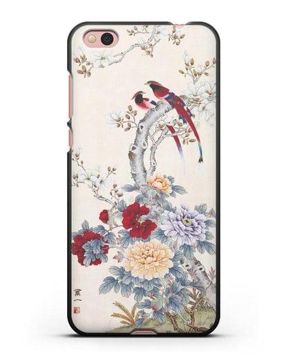 Чехол Цветы и птицы силикон черный для Xiaomi Mi 5С