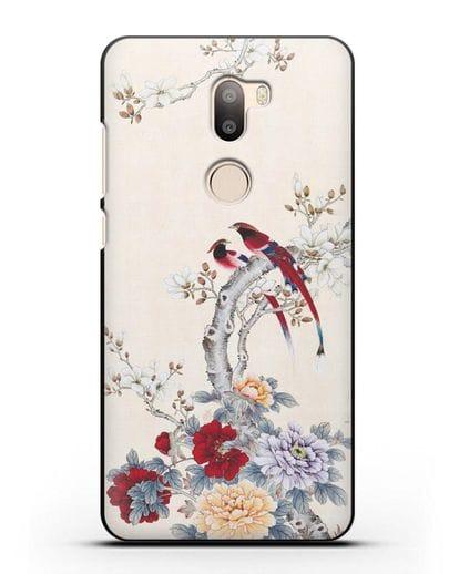 Чехол Цветы и птицы силикон черный для Xiaomi Mi 5S Plus
