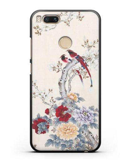 Чехол Цветы и птицы силикон черный для Xiaomi Mi 5X