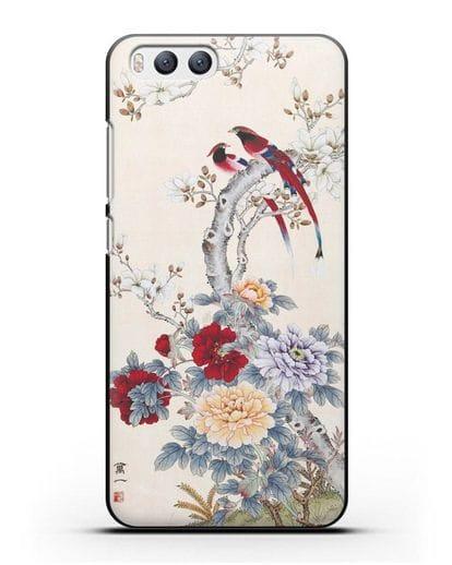 Чехол Цветы и птицы силикон черный для Xiaomi Mi 6